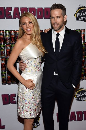 Blake Lively and Ryan Reynolds attend the 'Deadpool' fan event at AMC Empire Theatre on February 8, 2016 in New York City