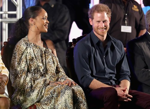 Prince Harry and singer Rihanna attend a Golden Anniversary Spectacular Mega Concert at the Kensington Oval Cricket Ground on day 10 of an official visit to the Caribbean on November 30, 2016 in Bridgetown, Barbados