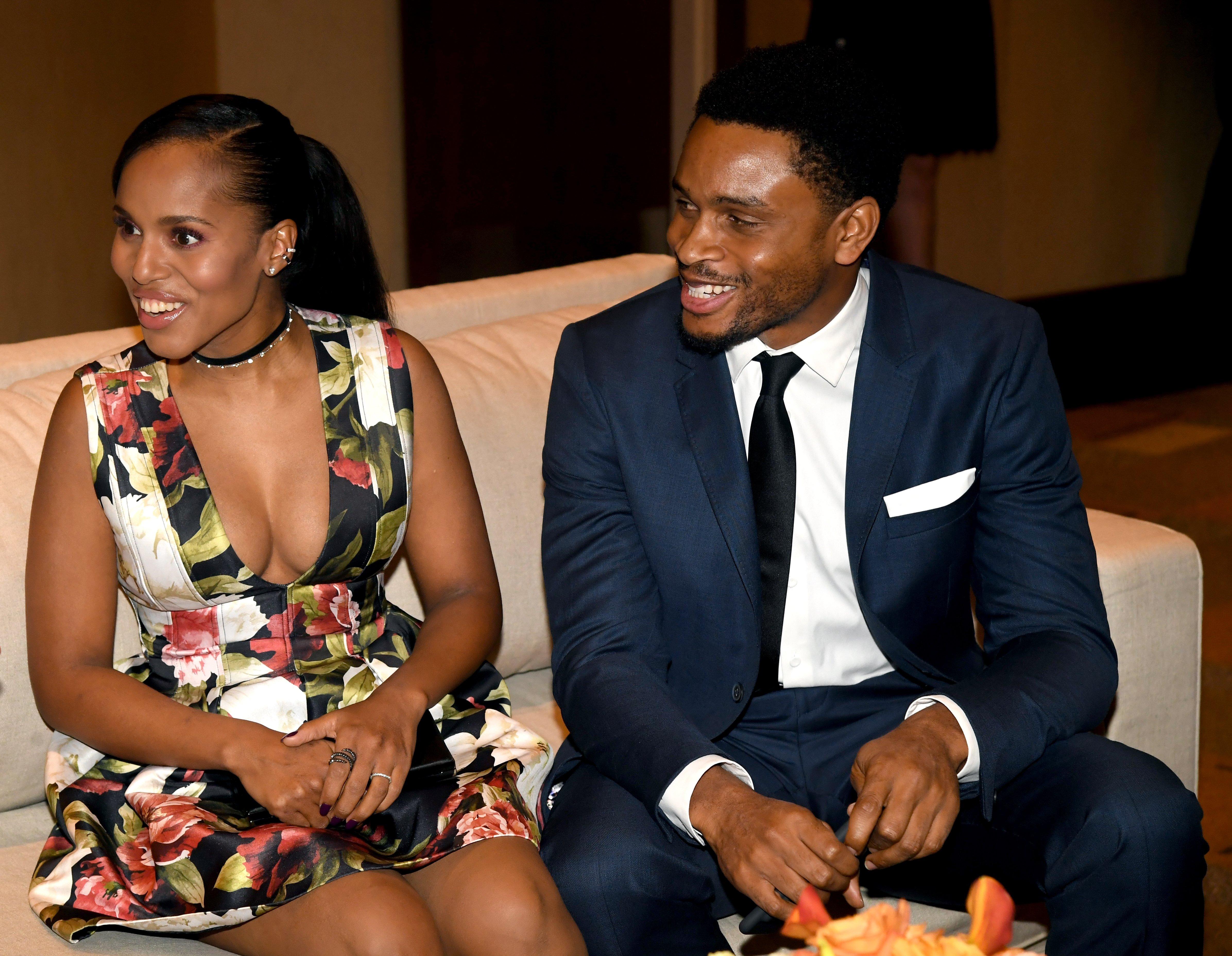 Kerry Washington and husband Nnamdi Asomugha attend the Ambassadors for Humanity Gala Benefiting USC Shoah Foundation at The Ray Dolby Ballroom at Hollywood & Highland Center on December 8, 2016 in Hollywood