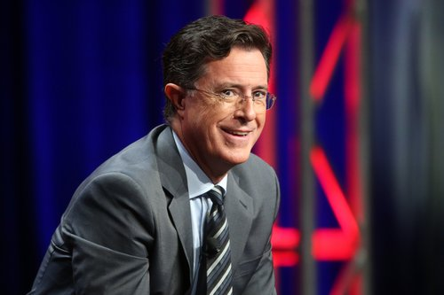 Stephen Colbert speaks onstage during the 'The Late Show with Stephen Colbert' panel discussion at the CBS portion of the 2015 Summer TCA Tour at The Beverly Hilton Hotel on August 10, 2015