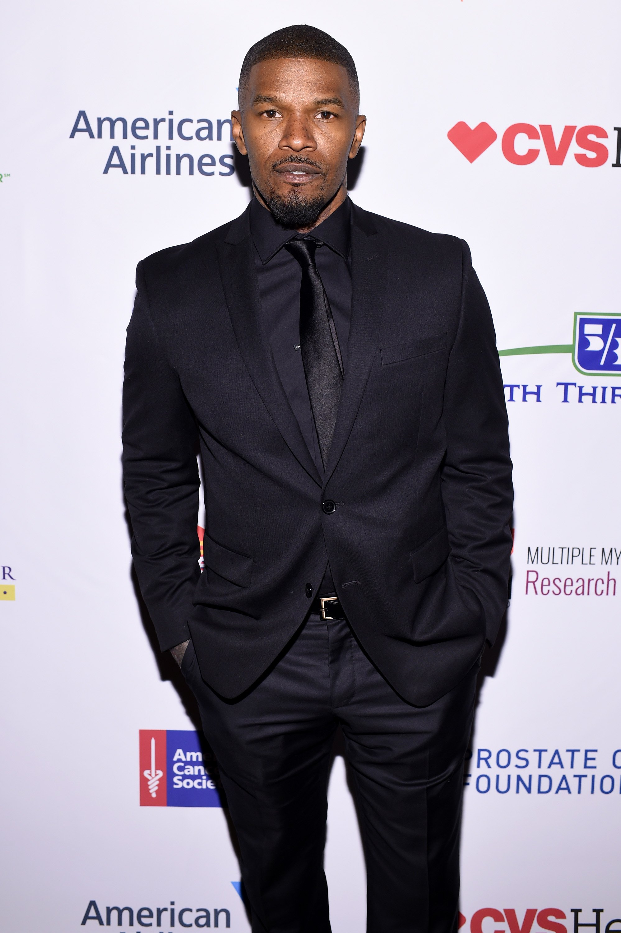 Jamie Foxx attends Stand Up To Cancer's New York Standing Room Only, presented by Entertainment Industry Foundation, with donors American Airlines and Merck, chaired by Jim Toth, Reese Witherspoon & MasterCard President/CEO Ajay Banga and his wife Ritu, h