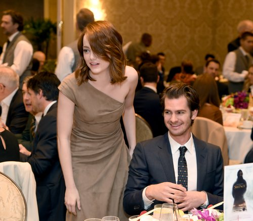 Emma Stone (L) and Andrew Garfield attend the 17th annual AFI Awards at Four Seasons Los Angeles at Beverly Hills on January 6, 2017 in Los Angeles