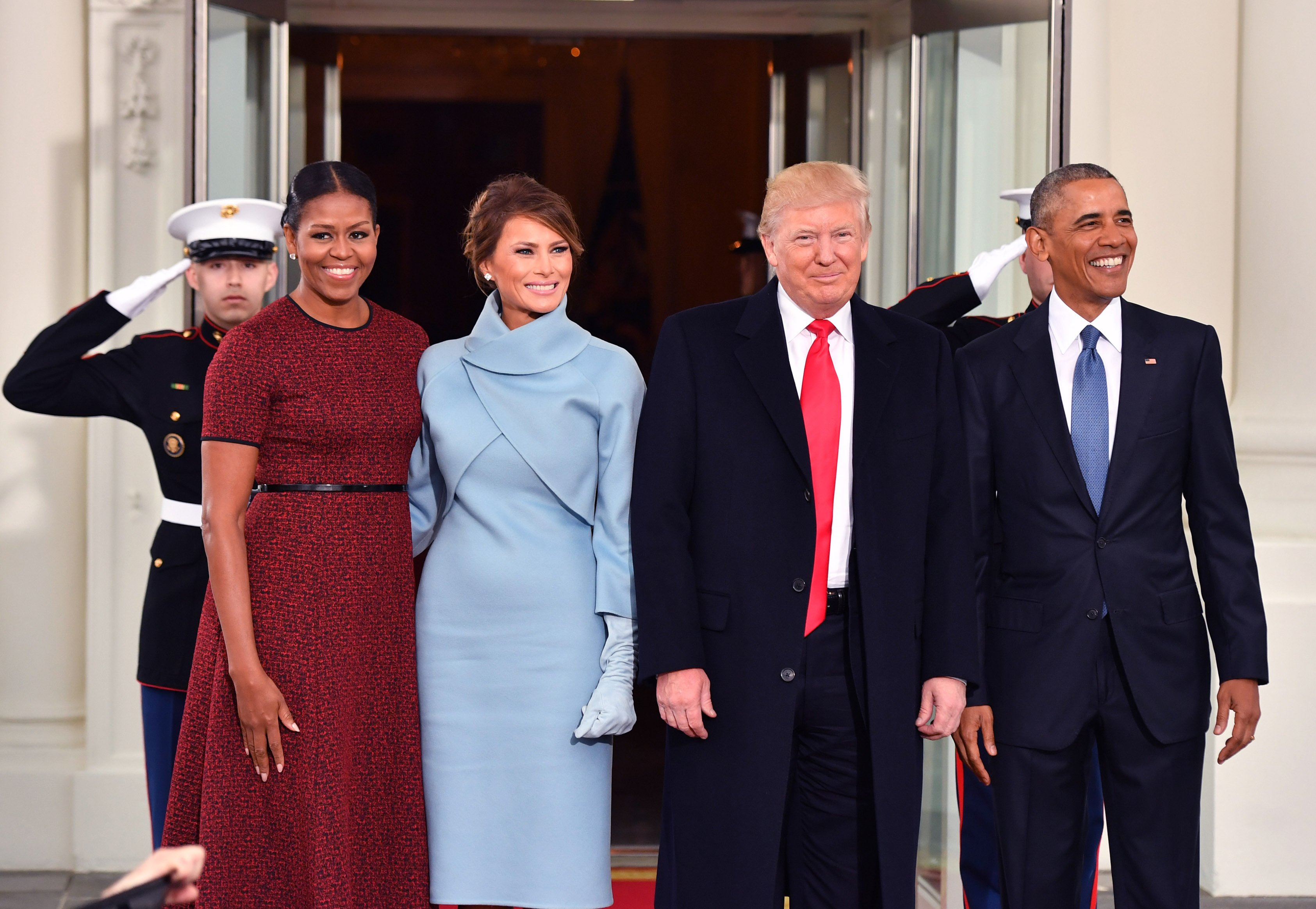 President Barack Obama and Michelle Obama pose with President-elect Donald Trump and wife Melania at the White House before the inauguration on January 20, 2017 in Washington, D.C