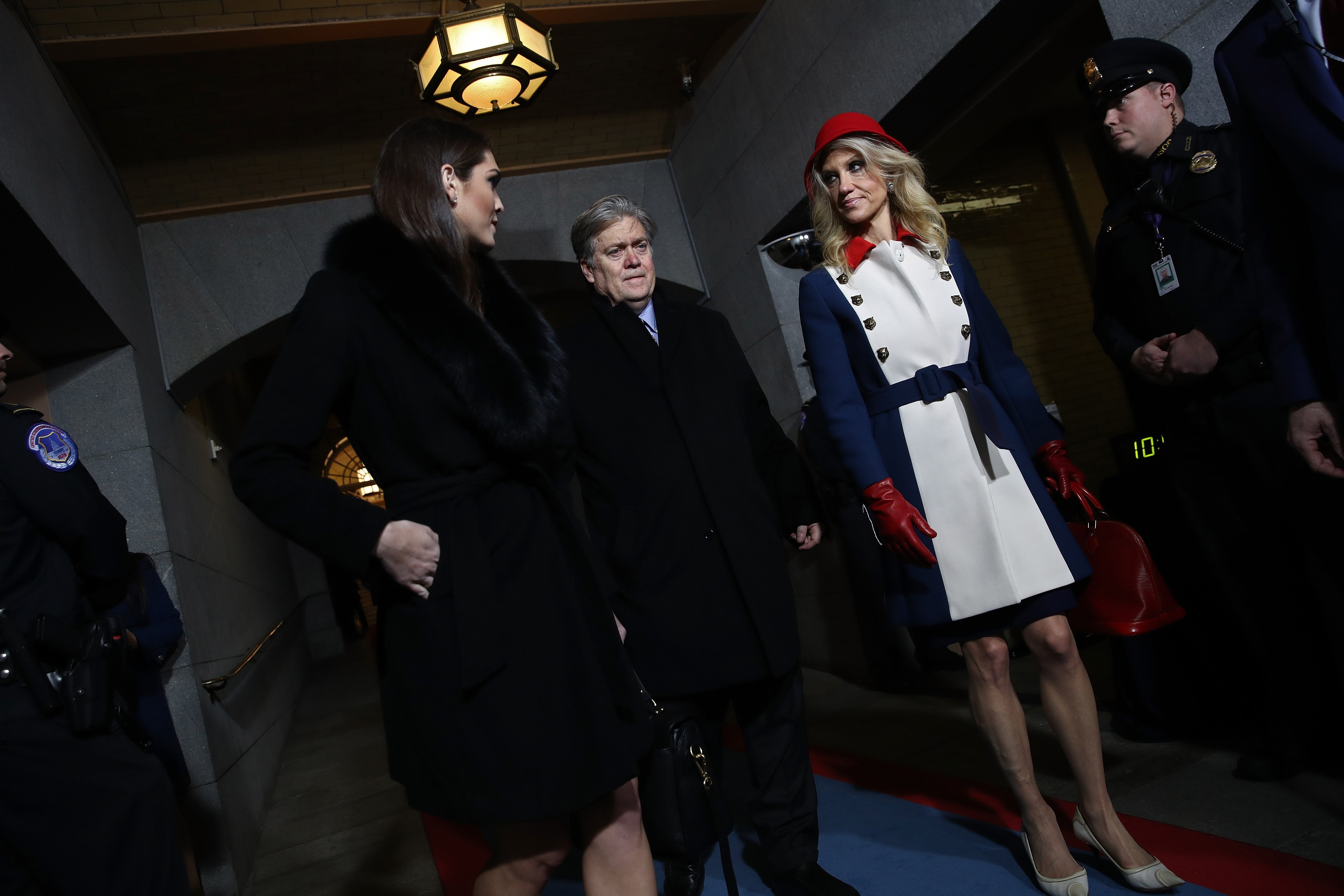 Donald Trump's White House Director of Strategic Communications Hope Hicks, Senior Counselor Steve Bannon and Counselor to the President Kellyanne Conway arrive for the presidential inauguration on the West Front of the U.S. Capitol on January 20, 2017 in