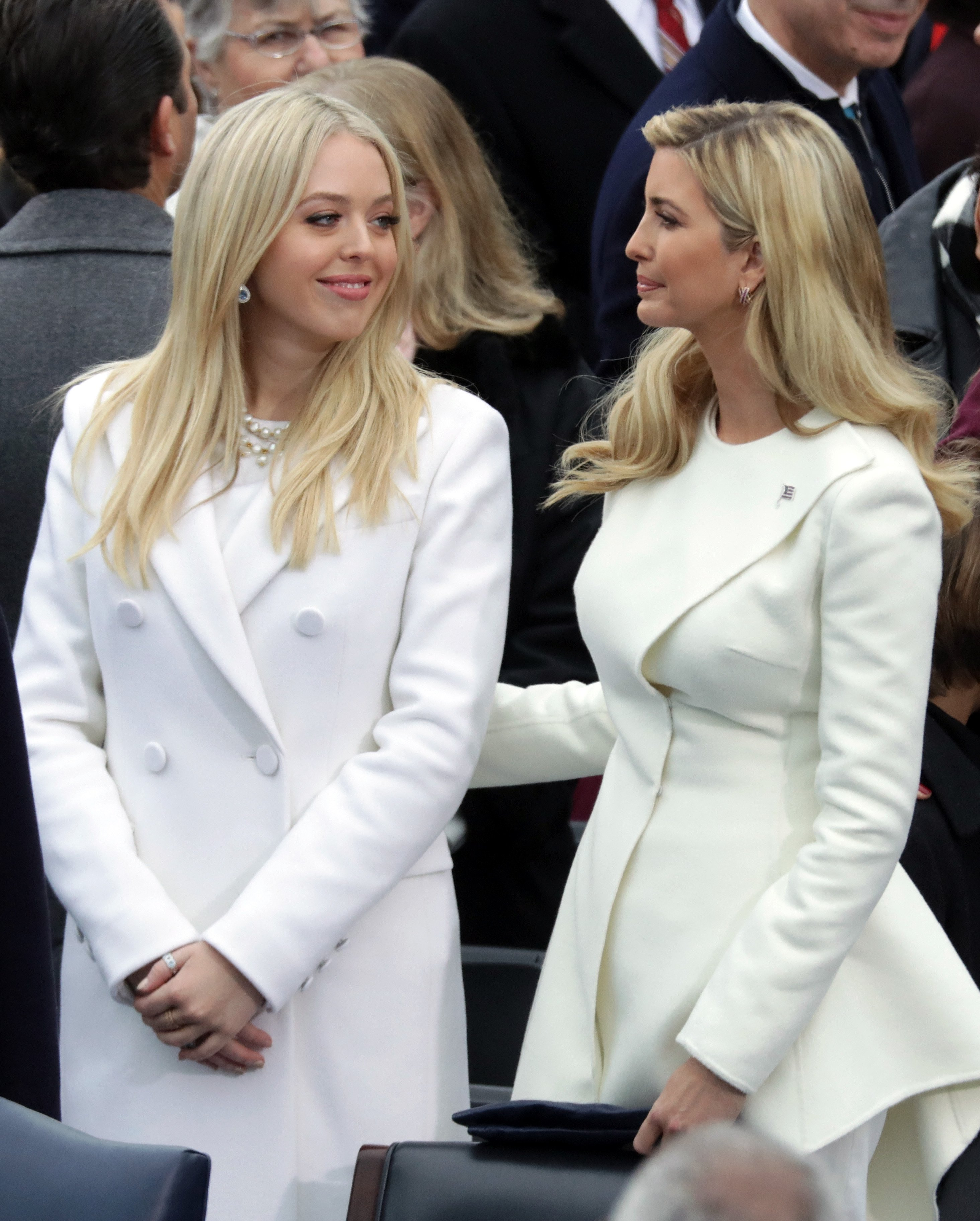 Tiffany Trump and Ivanka Trump arrive on the West Front of the U.S. Capitol on January 20, 2017 in Washington, DC