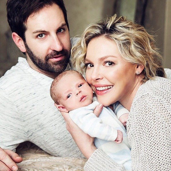 Katherine Heigl and husband Josh Kelley pose with their newborn son, Joshua Bishop Kelley Jr., in a photo posted to Instagram on Jan. 25, 2017