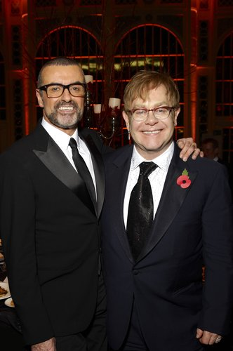 George Michael and Sir Elton John attend a charity performance benefiting the Elton John AIDS Foundation's newly created Elizabeth Taylor Memorial Fund at the Royal Opera House in London, England, on November 6, 2011