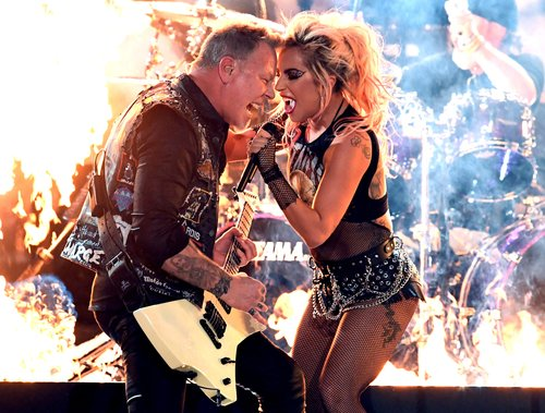 James Hetfield of Metallica and Lady Gaga perform onstage during The 59th Grammy Awards at Staples Center on February 12, 2017 in Los Angeles