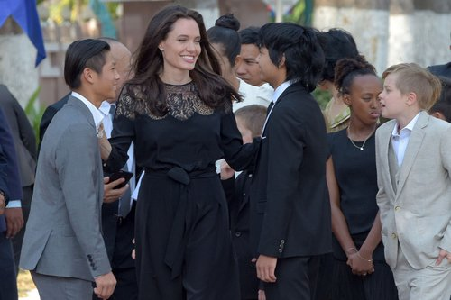 Pax Jolie-Pitt, Angelina Jolie and Maddox Jolie-Pitt, Zahara Jolie-Pitt and Shiloh Jolie-Pitt gather at the royal residence for a meeting with Cambodian King Norodom Sihamoni in Siem Reap, Cambodia, on February 18, 2017