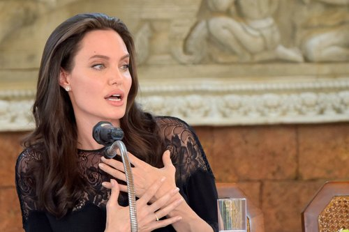 Angelina Jolie speaks to media during a press conference at a hotel in Siem Reap, Cambodia on February 18, 2017