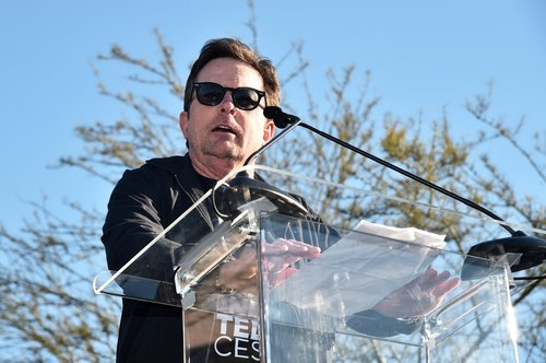 Michael J. Fox speaks during the United Voices Rally at UTA Plaza on February 24, 2017 in Beverly Hills, Calif.