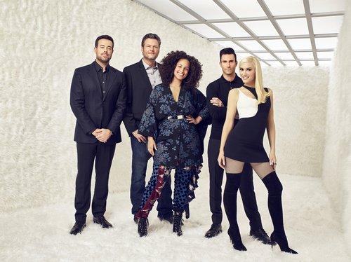Carson Daly, Blake Shelton, Alicia Keys, Adam Levine and Gwen Stefani of 'The Voice'