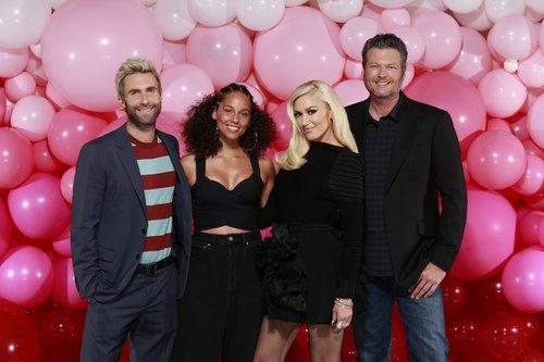 Adam Levine, Alicia Keys, Gwen Stefani and Blake Shelton in pic for Season 12 of 'The Voice'