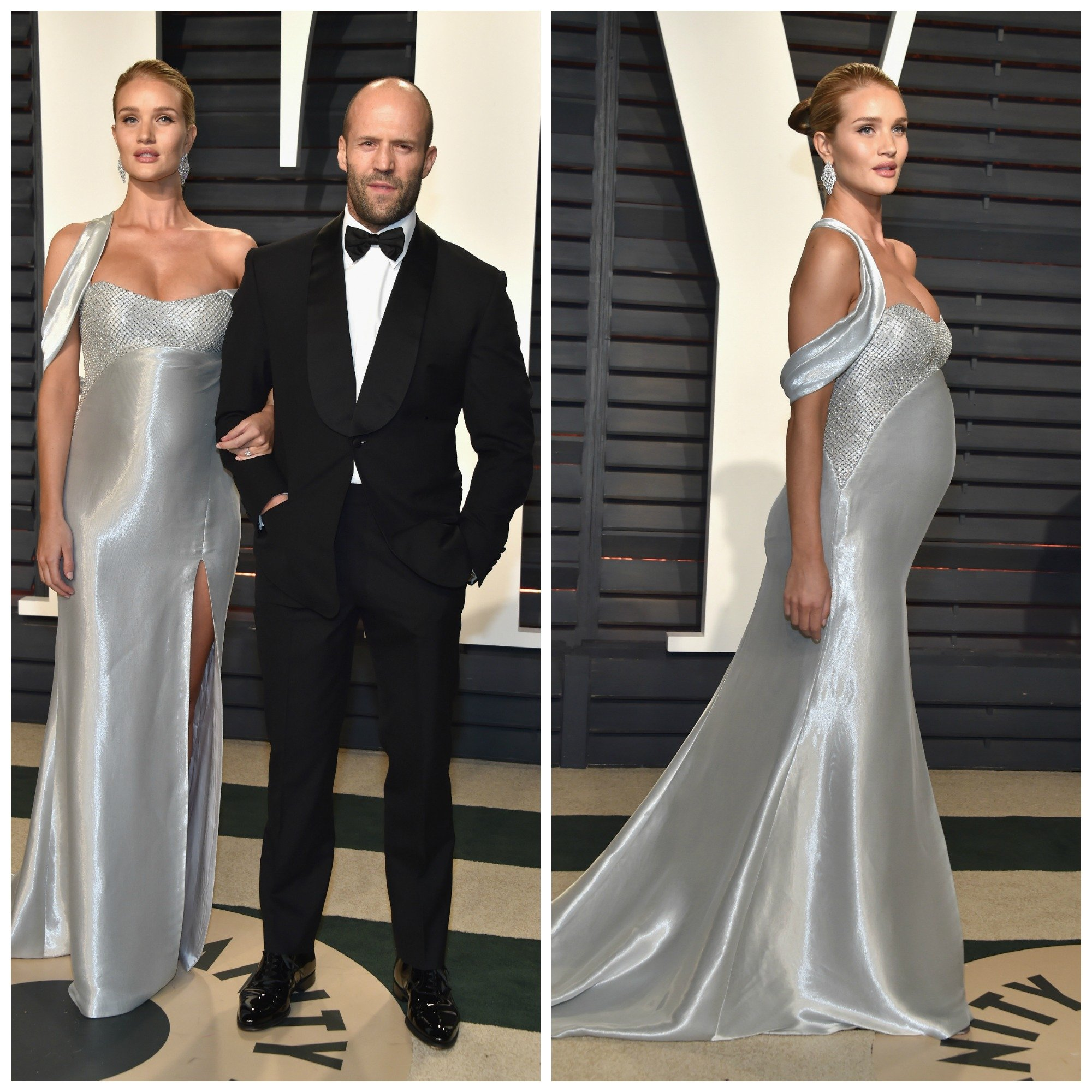 Rosie Huntington-Whiteley and Jason Statham attend the 2017 Vanity Fair Oscar Party hosted by Graydon Carter at Wallis Annenberg Center for the Performing Arts on February 26, 2017 in Beverly Hills