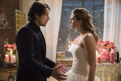 Peter Gadiot as Mr. Mxyzptlk and Melissa Benoist as Kara in 'Supergirl' Season 2, Episode 13 -- 'Mr. & Mrs. Mxyzptlk'