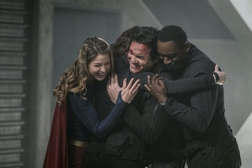 Melissa Benoist as Kara/Supergirl, Chyler Leigh as Alex Danvers, Dean Cain as Jeremiah Danvers, and David Harewood as Hank Henshaw in a scene from 'Supergirl' Season 2, Episode 14 -- 'Homecoming'
