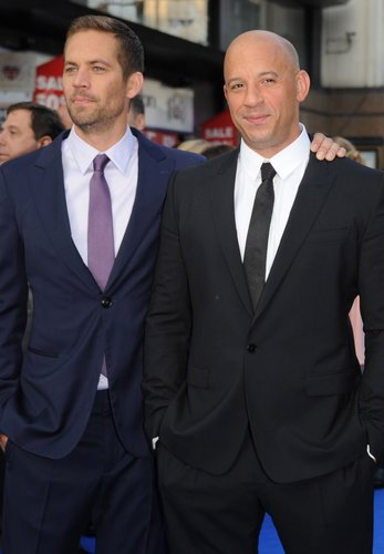 Paul Walker and Vin Diesel attend the 'Fast & Furious 6' world premiere on May 7, 2013 in London