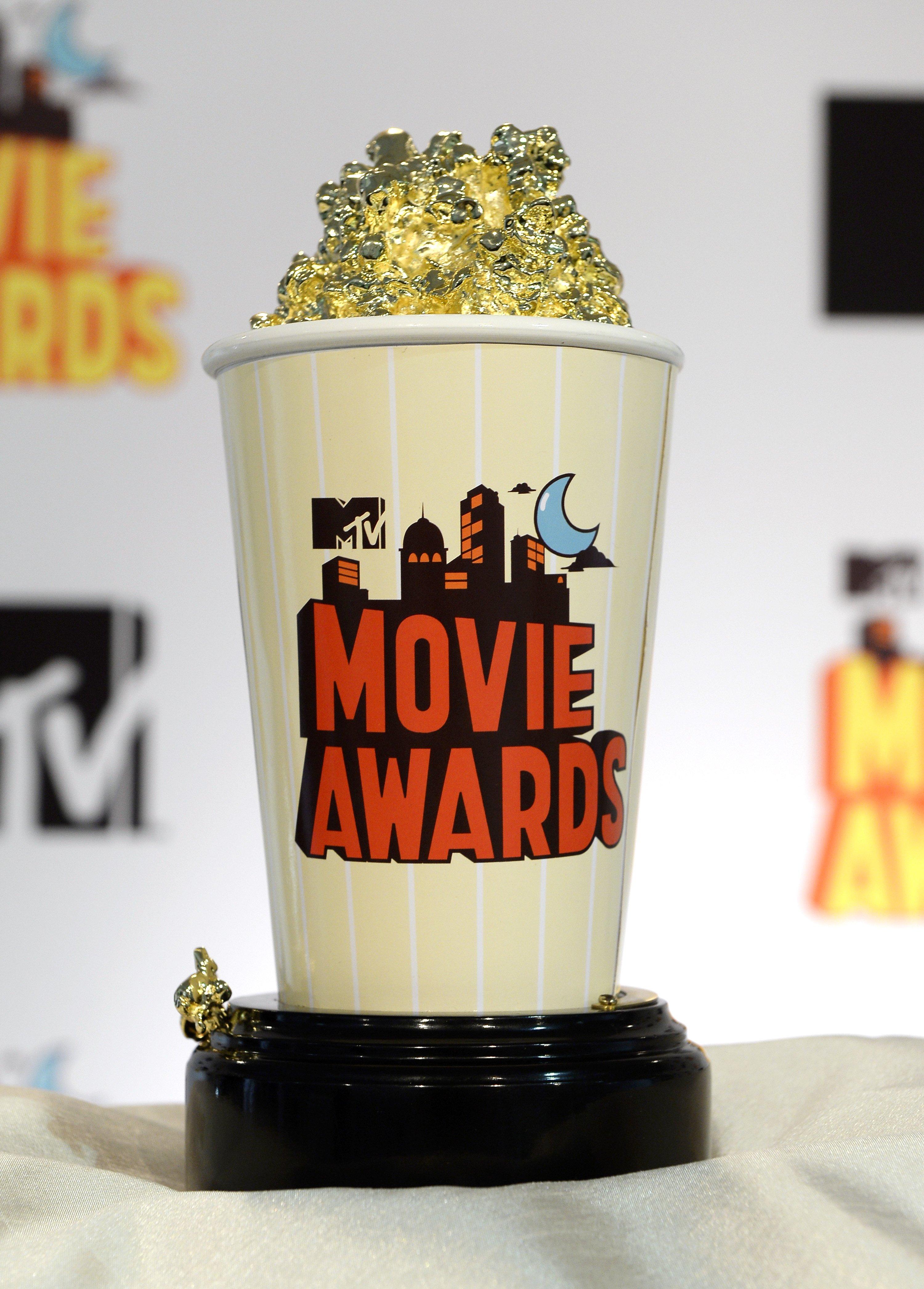 The 2015 MTV Movie Awards Golden Popcorn trophy is displayed during an MTV Movie Awards press junket April 9, 2015, in Los Angeles