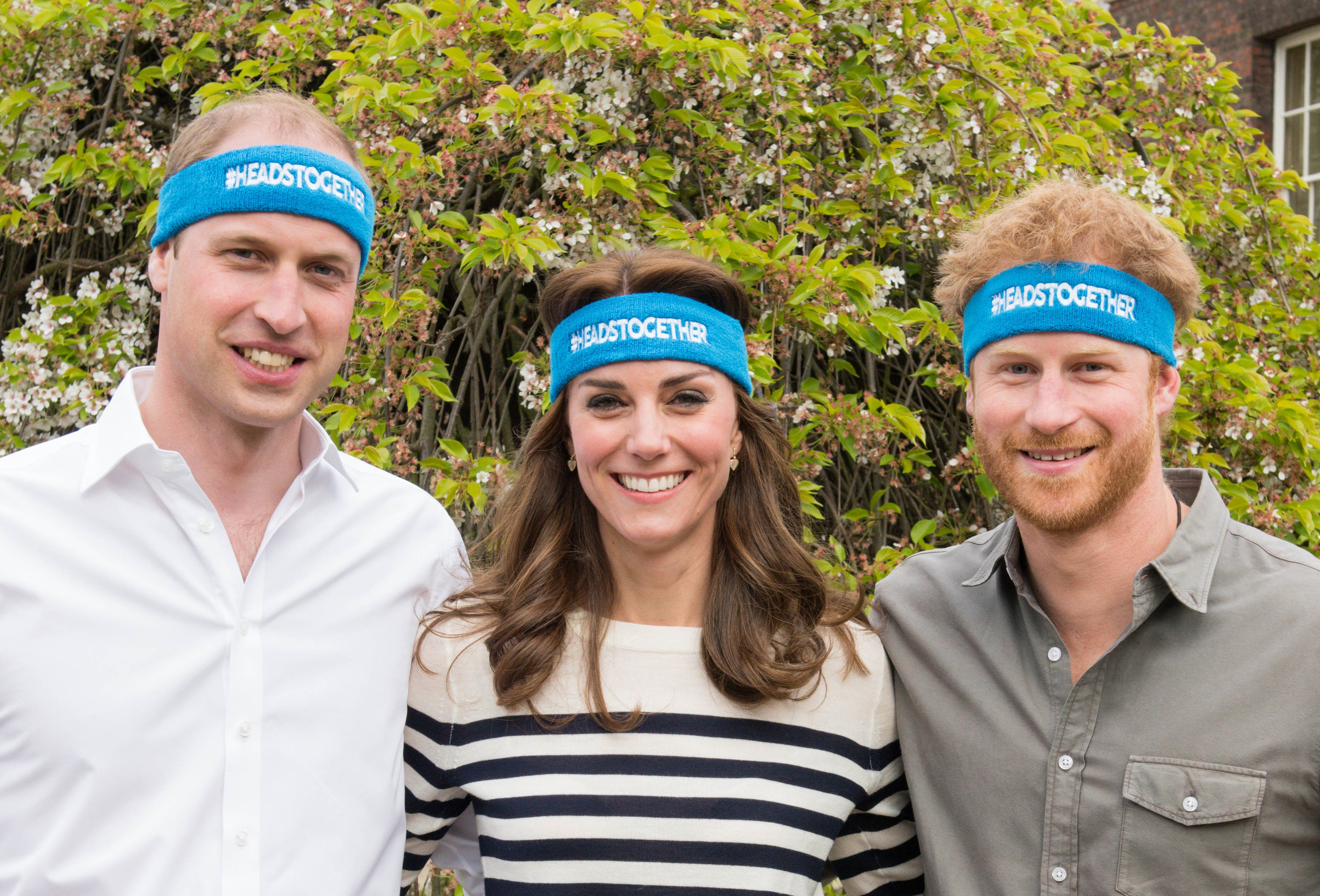 The Duke and Duchess of Cambridge and Prince Harry spearhead their Heads Together campaign at Kensington Palace on April 21, 2016 in London