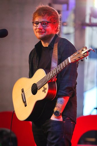 Ed Sheeran seen at the BBC studios doing a sound check ahead of performing on The One Show on March 3, 2017 in London