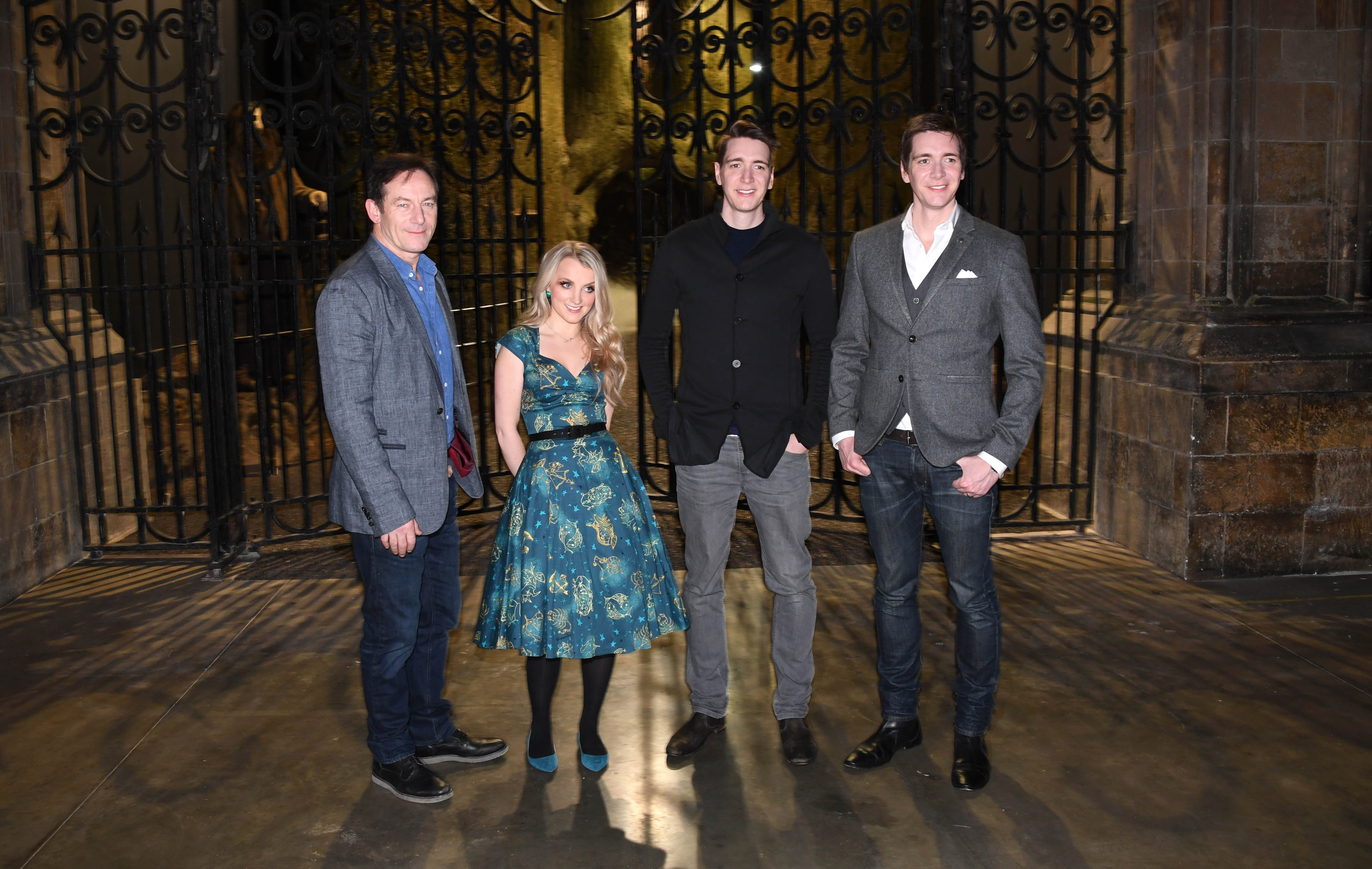 Jason Isaacs, Evanna Lynch, James Phelps and Oliver Phelps attend the First look at The Forbidden Forest, a new permanent expansion, opening 31st March, at Warner Bros. Studio Tour London - The Making of Harry Potter - on March 8, 2017 in Watford, England