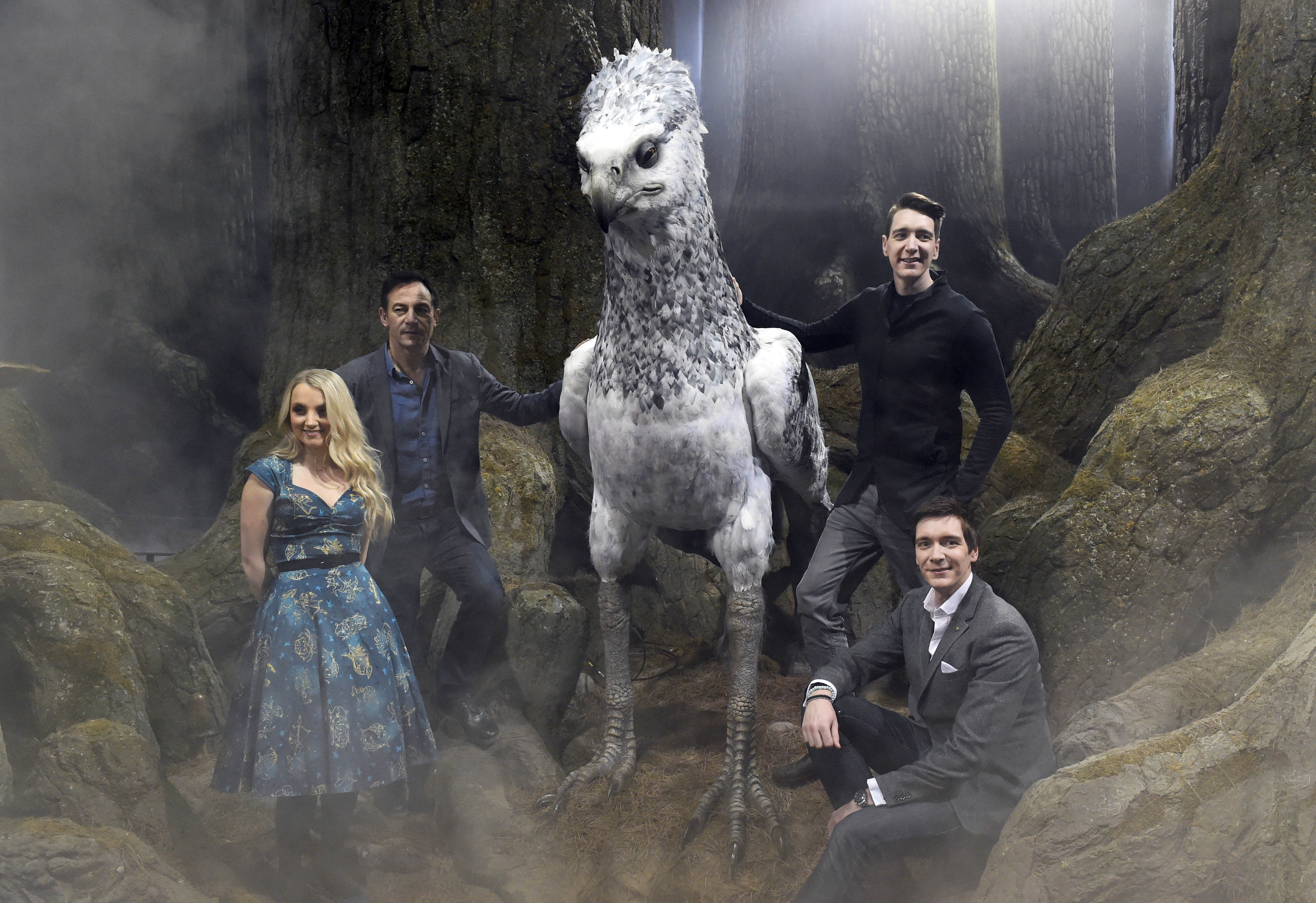 Evanna Lynch, Jason Isaccs, James Phelps and Oliver Phelps attend the First look at The Forbidden Forest, a new permanent expansion, opening 31st March, at Warner Bros. Studio Tour London - The Making of Harry Potter - on March 8, 2017 in Watford, England