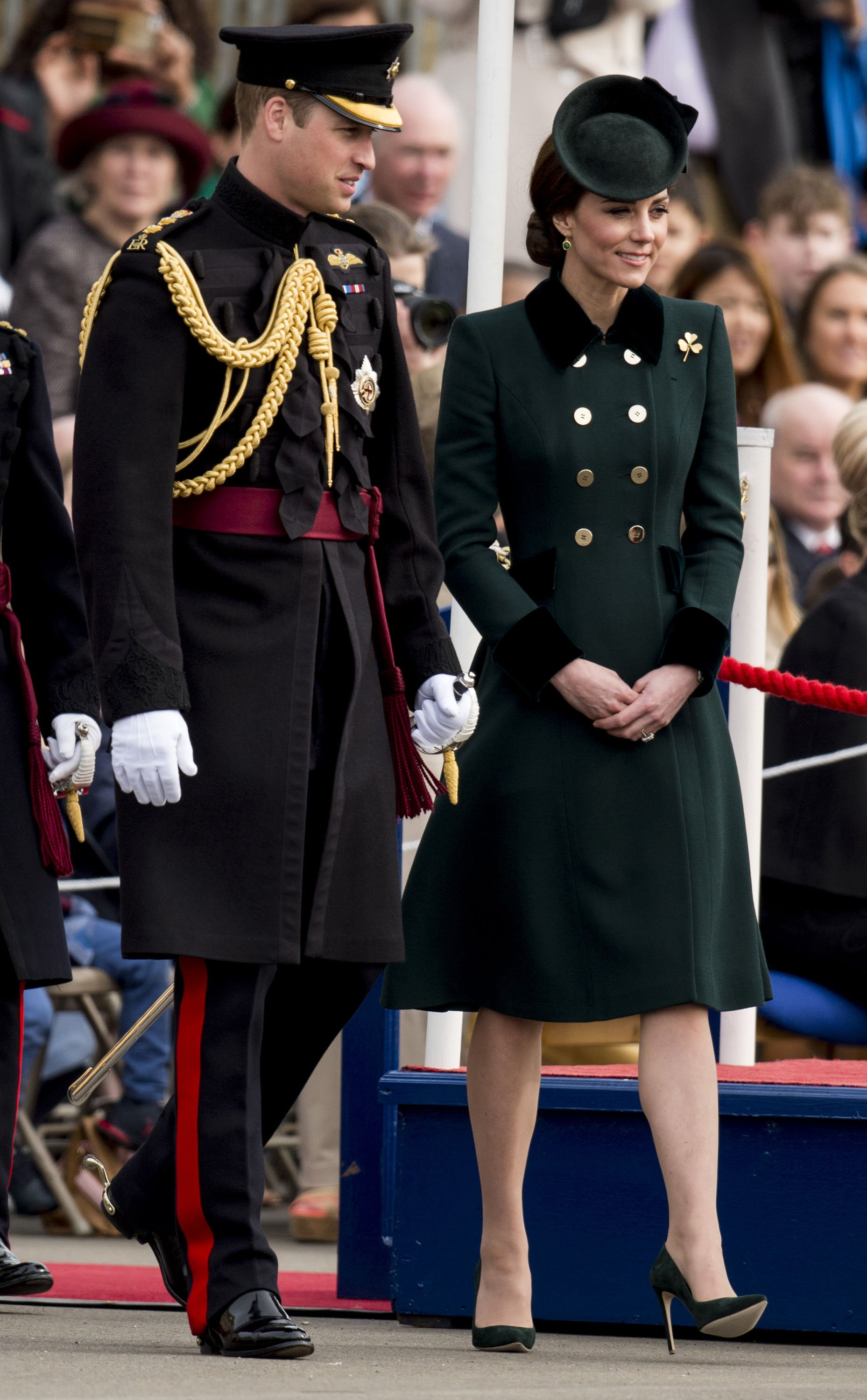 Prince William, Duke of Cambridge and Catherine, Duchess of Cambridge attend the annual Irish Guards St Patrick's Day Parade at Household Cavalry Barracks on March 17, 2017 in London