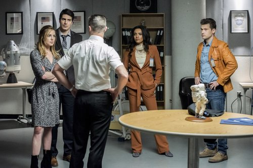 Caity Lotz as Sara Lance/White Canary, Brandon Routh as Ray Palmer/Atom, Matthew MacCaull as Commander Steel, Maisie Richardson- Sellers as Amaya Jiwe/Vixen and Nick Zano as Nate Heywood/Steel in the 'Moonshot' episode of 'DC's Legends of Tomorrow'