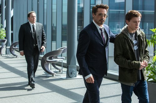 Jon Favreau, Robert Downey Jr. and Tom Holland in 'Spider-Man: Homecoming'