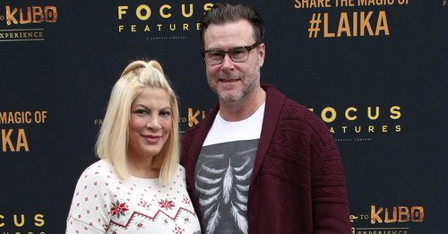 Tori Spelling and Dean McDermott attend the Grand Re-Opening Event For 'From Coraline To Kubo: A Magical LAIKA Experience' at The Globe Theatre on December 21, 2016 in Universal City