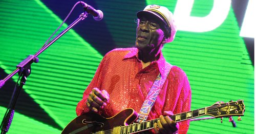 Chuck Berry performs at the Izvestia Hall on October 20, 2013 in Moscow, Russia