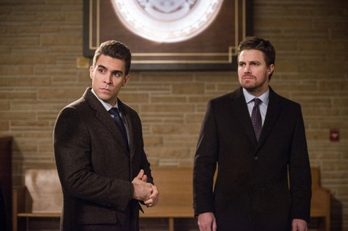 Josh Segarra as Adrian Chase and Stephen Amell as Oliver Queen in 'Arrow'