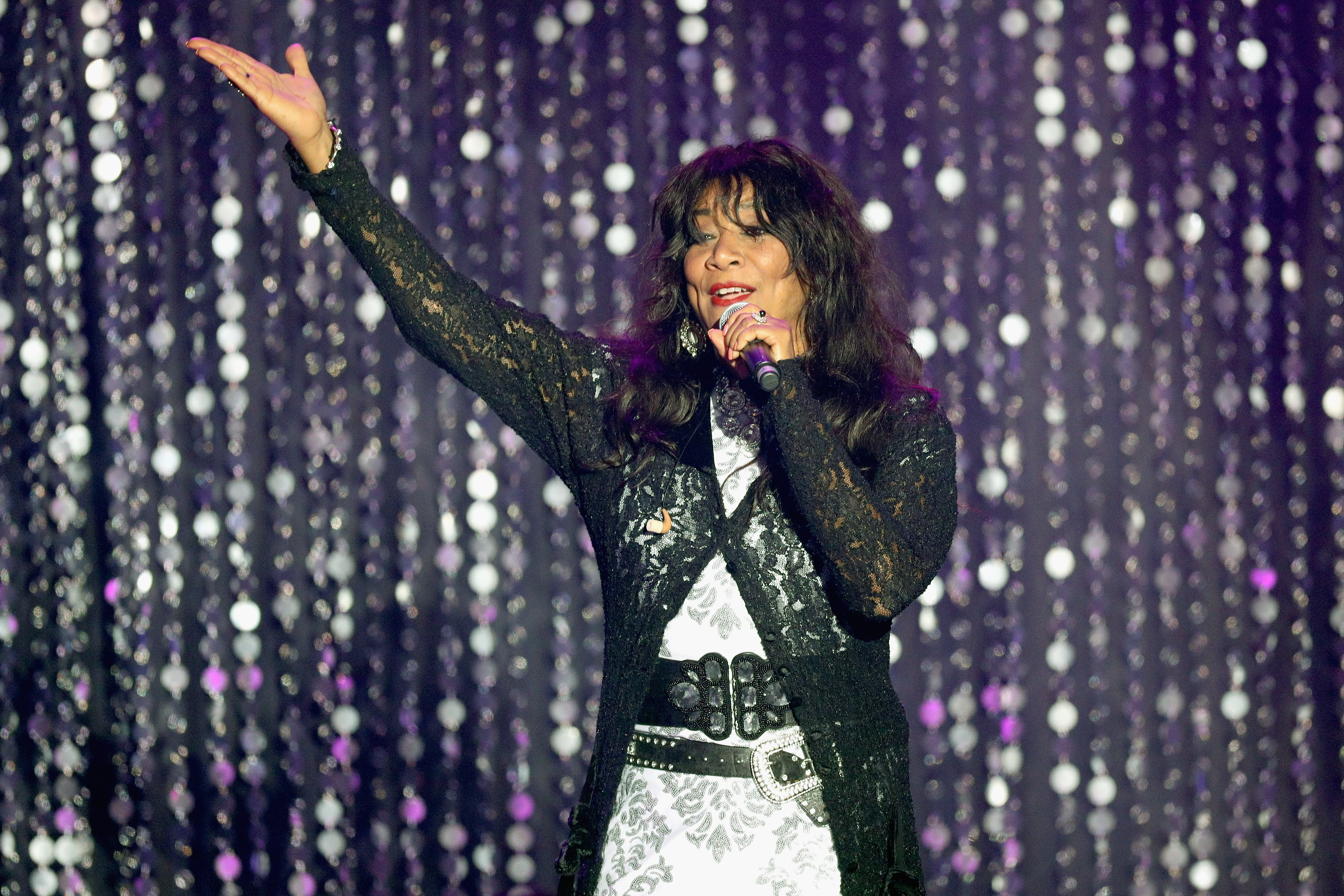 Joni Sledge of Sister Sledge appears on stage at the amfAR's 23rd Cinema Against AIDS Gala at Hotel du Cap-Eden-Roc on May 19, 2016 in Cap d'Antibes, France