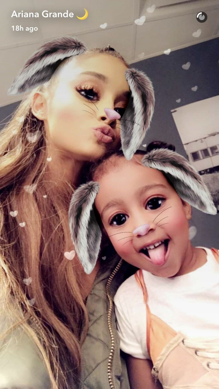 Ariana Grande and North West pose in a Snapchat selfie taken on March 31, 2017