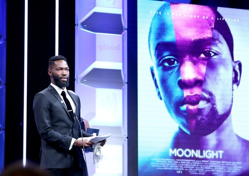 Tarell Alvin McCraney accepts the Outstanding Film Wide Release Award for 'Moonlight' at the 28th Annual GLAAD Media Awards in Beverly Hills on April 1, 2017