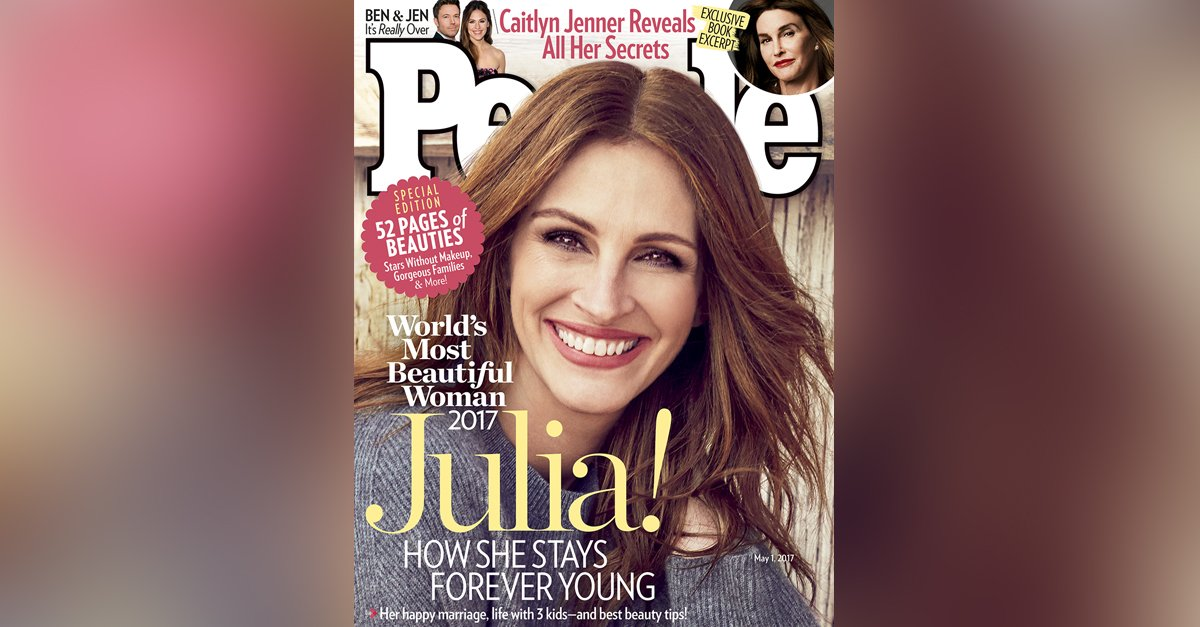 Julia Roberts is named the 'World's Most Beautiful Woman' by People magazine, 2017