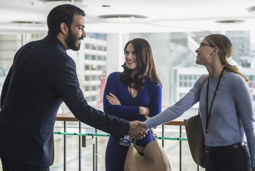 Rahul Kohli as Jack Spheer, Katie McGrath as Lena Luthor and Melissa Benoist as Kara Zor-El in 'Supergirl' Season 2, Episode 18 -- 'Ace Reporter'