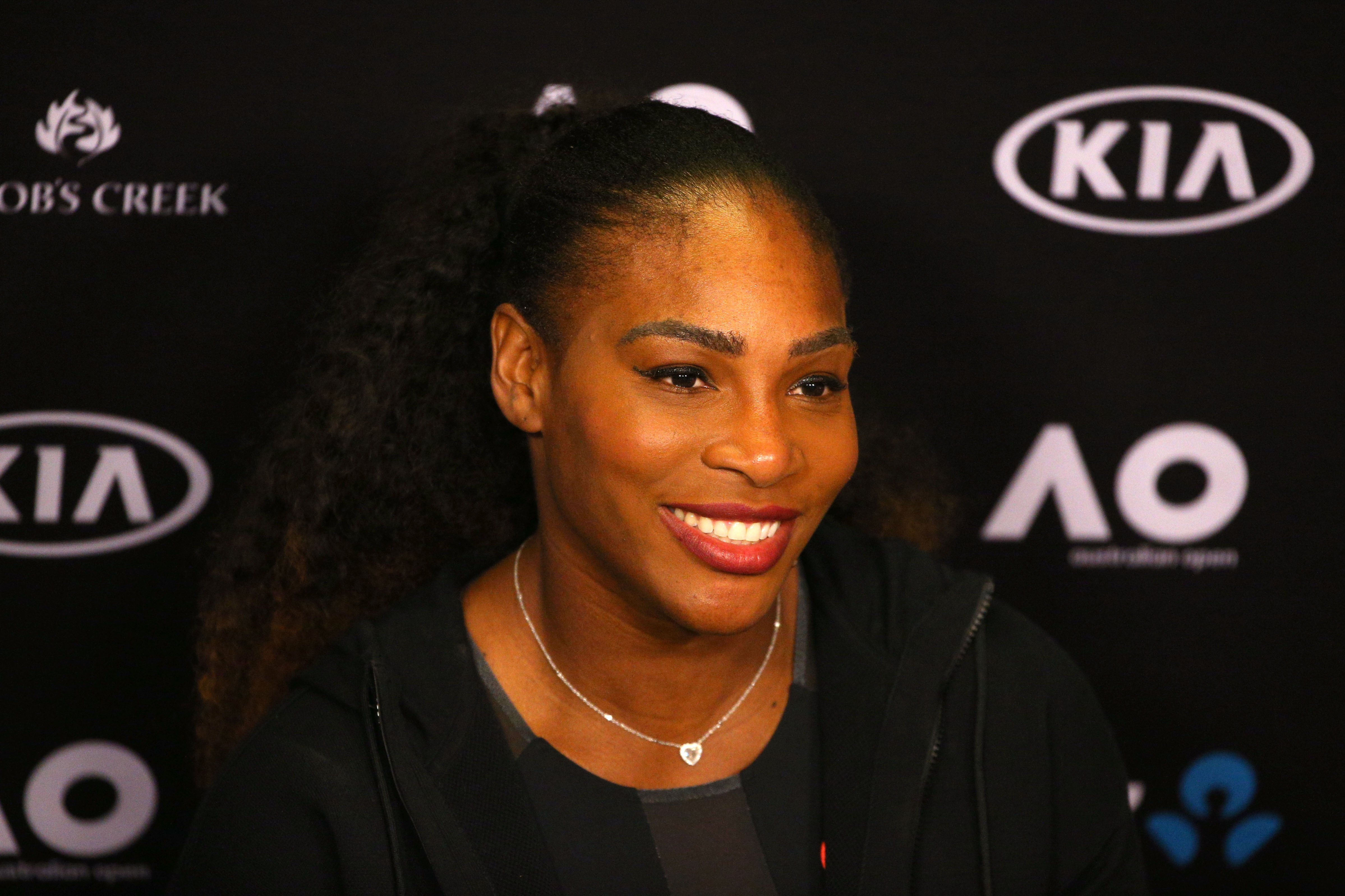 Serena Williams of the United States speaks to the media during a press conference after winning the Women's Singles Final against Venus Williams of the United States on day 13 of the 2017 Australian Open at Melbourne Park on January 28, 2017 in Melbourne