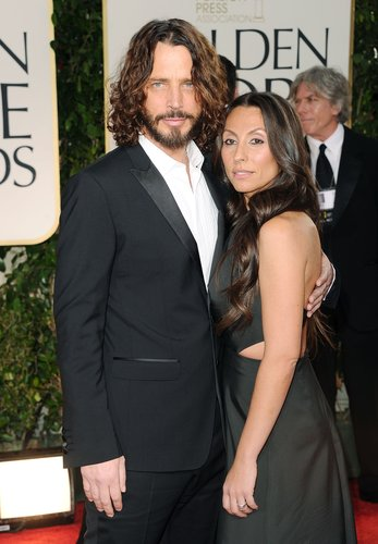 Chris Cornell and wife Vicky Karayiannis arrive at the 69th Annual Golden Globe Awards held at the Beverly Hilton Hotel on January 15, 2012 in Beverly Hills