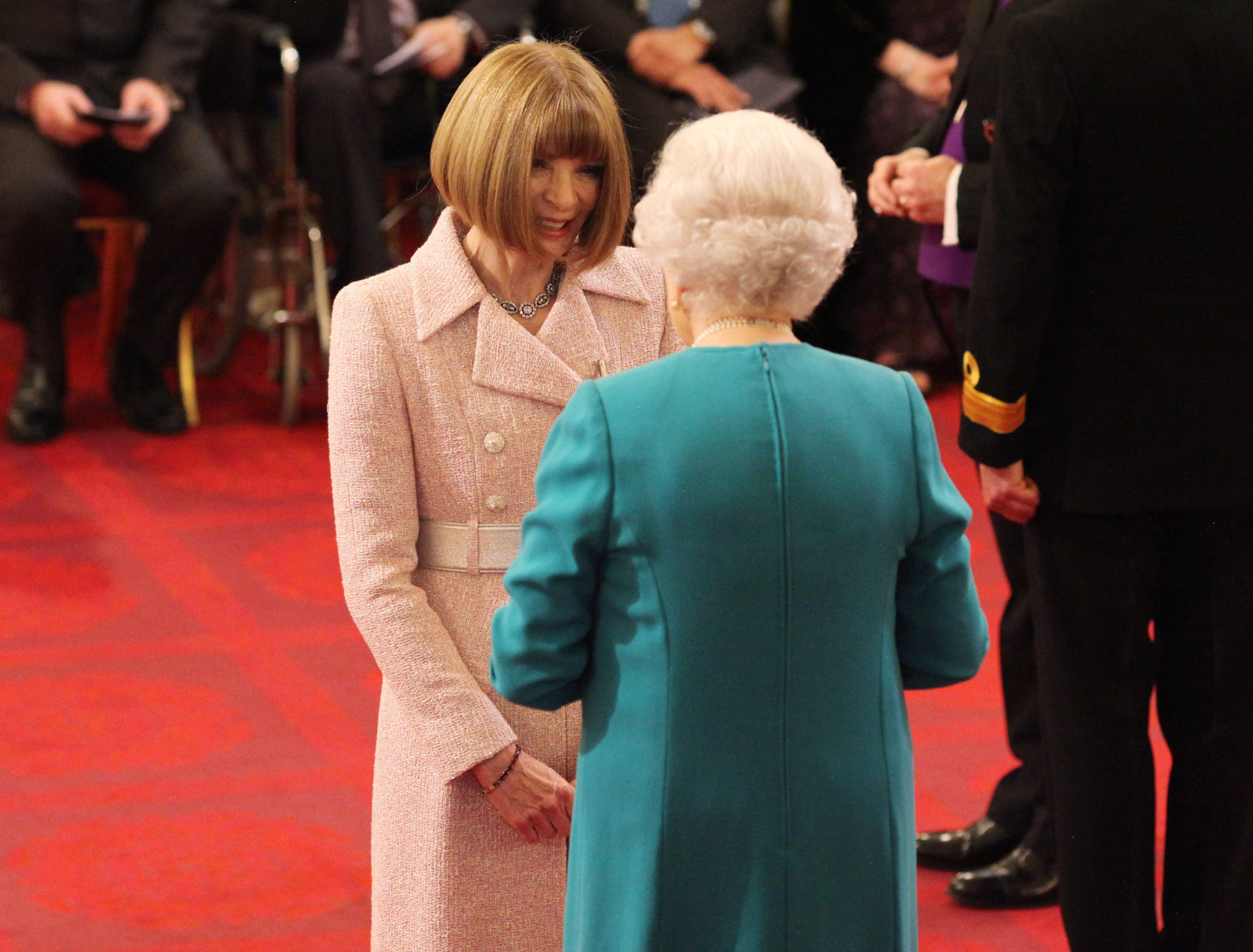 Anna Wintour is made a Dame Commander of the British Empire by Queen Elizabeth II, during an Investiture ceremony at Buckingham Palace, London