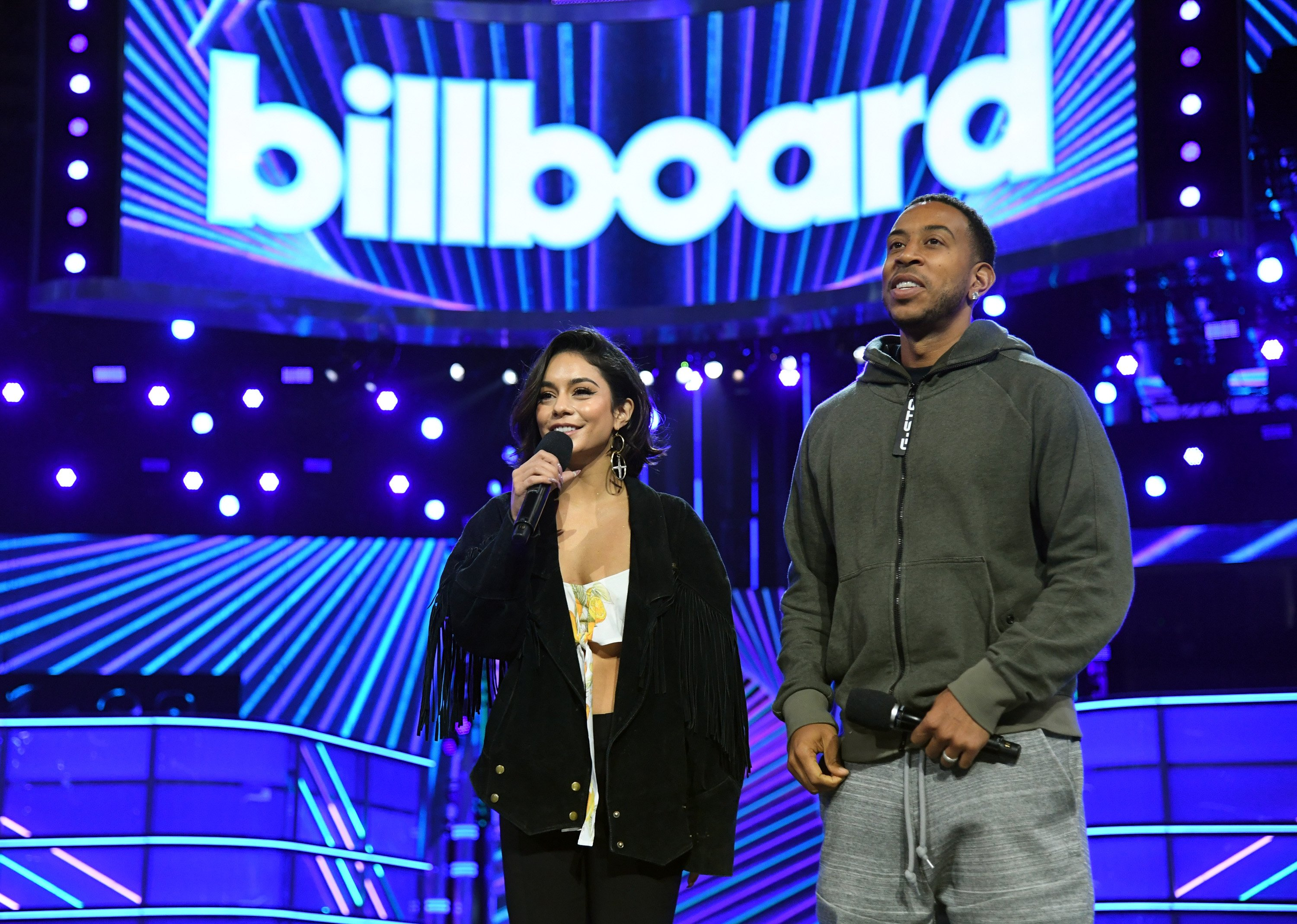 Co-hosts Vanessa Hudgens and Ludacris rehearse onstage for the 2017 Billboard Music Awards at T-Mobile Arena on May 20, 2017 in Las Vegas, Nev.