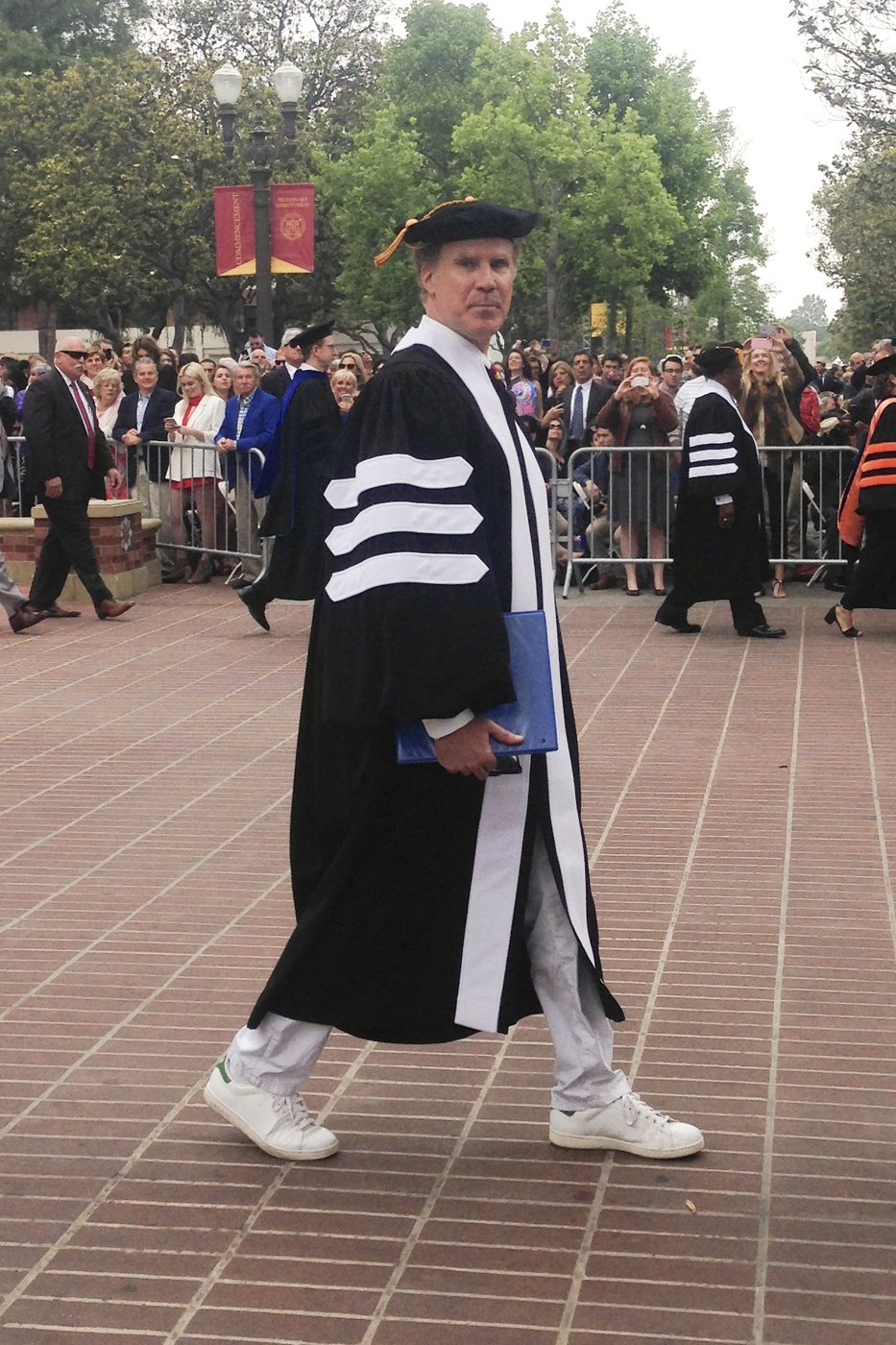 University of Southern California alum Will Ferrell arrives to give the keynote commencement address at his alma mater on May 12, 2017