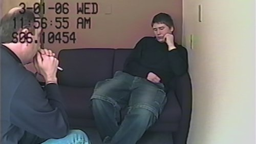 A screenshot of Brendan Dassey during an interview with authorities, as featured in the Netflix documentary 'Making a Murderer'