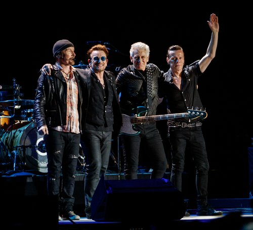 U2, The Edge, Bono, Adam Clayton and Larry Mullen Jr. perform during the Bonnaroo Music and Arts Festival 2017 on June 9, 2017 in Manchester, Tenn.