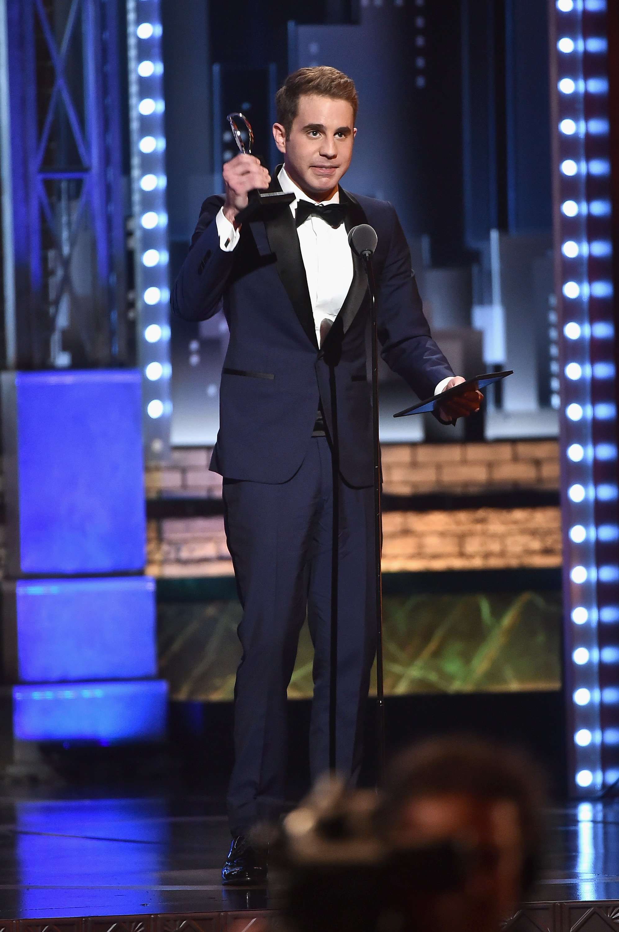 Ben Platt accepts the award for Best Performance by an Actor in a Leading Role in a Musical for 'Dear Evan Hansen' onstage during the 2017 Tony Awards at Radio City Music Hall on June 11, 2017 in New York City