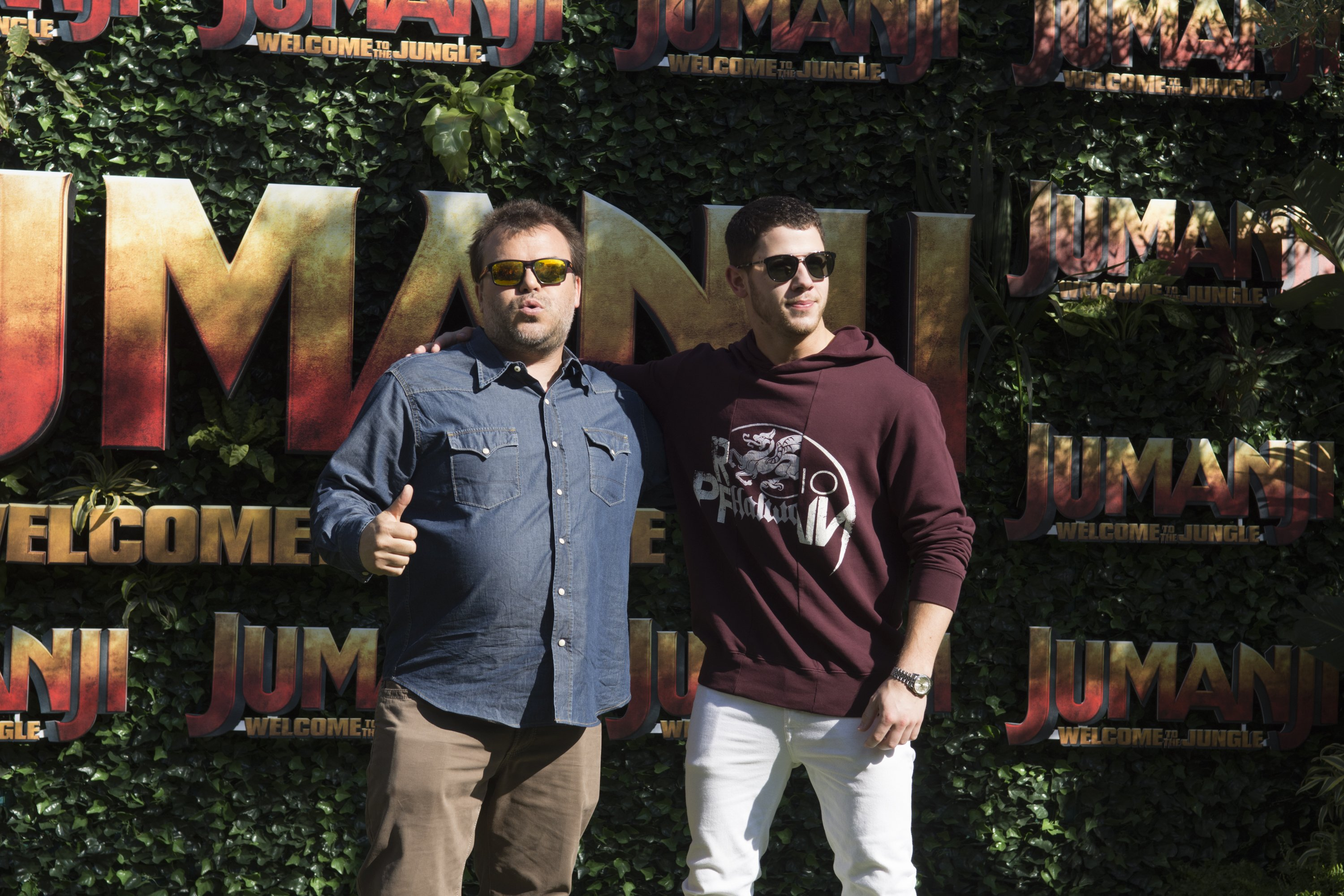 Jack Black and Nick Jonas pose during a photo call for 'Jumanji: Welcome to the Jungle' on June 18, 2017 in Barcelona