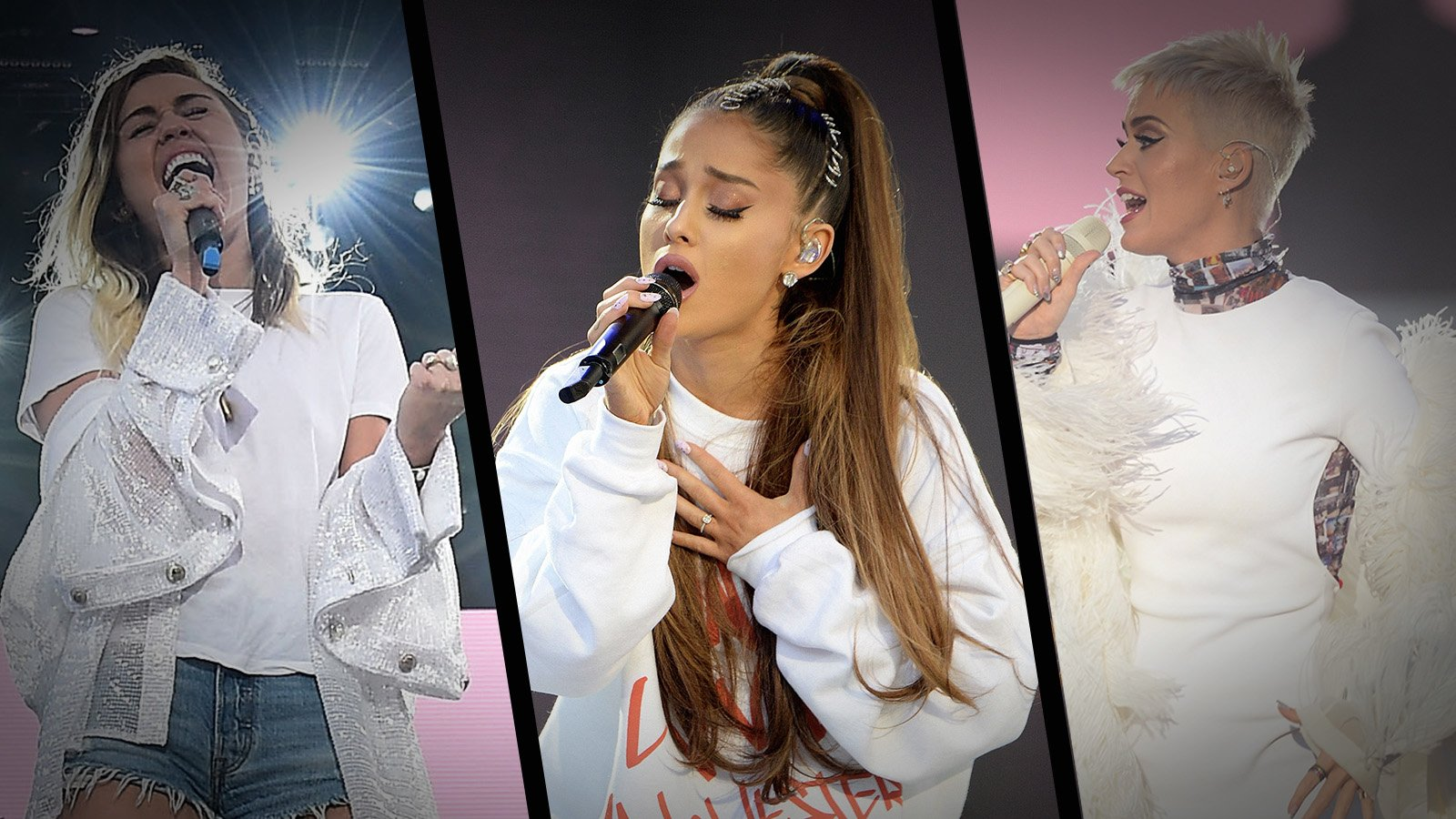 Miley Cyrus, Ariana Grande and Katy Perry perform on stage during the 'One Love Manchester' Benefit Concert at Old Trafford on June 4, 2017 in Manchester, England