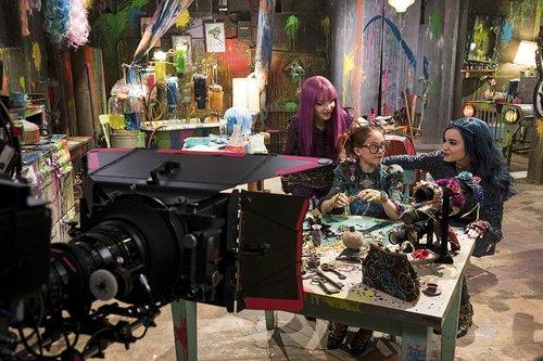 Dove Cameron, Anna Cathcart and Sofia Carson on the set of Disney Channel's 'Descendants 2'