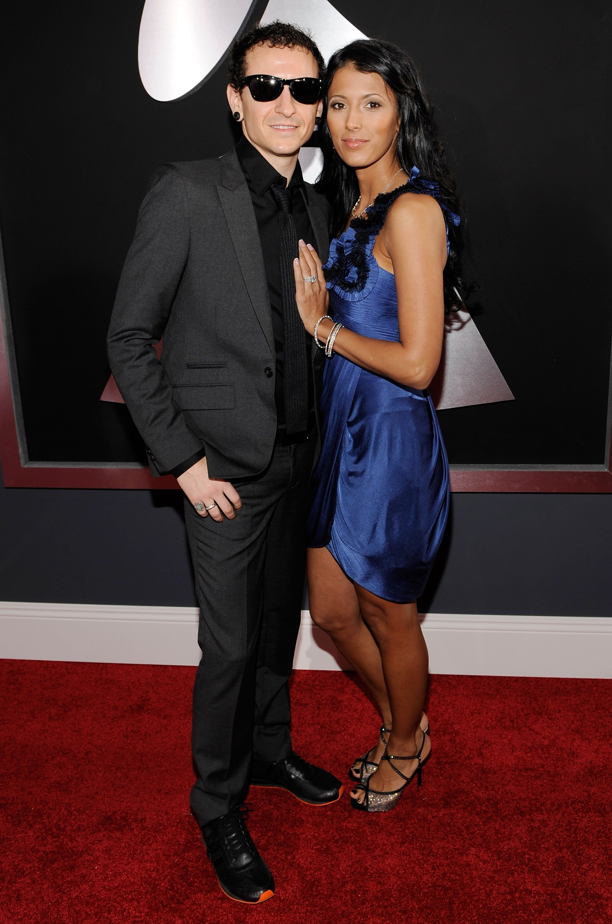Chester Bennington and Talinda Bentley arrive at the 52nd Annual GRAMMY Awards held at Staples Center on January 31, 2010 in Los Angeles