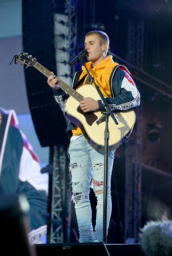 Justin Bieber performs on stage during the 'One Love Manchester' benefit concert at Old Trafford on June 4, 2017 in Manchester, England